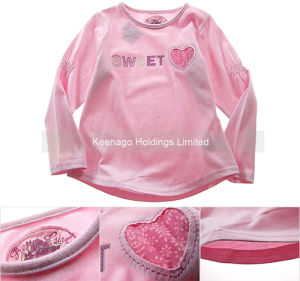 100% Cotton Infant Long Sleeve T Shirt for Girls pictures & photos