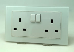 UK Tempered Glass Double Wall Power Socket with Switch Max 13A 250V AC White Color