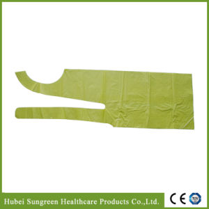Disposable Waterproof PE Apron in Yellow Color pictures & photos