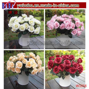 Artificial Rose Silk Flowers Flower Head Leaf Business Gift (w1058) pictures & photos