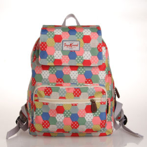 Colorful Dots Patterns PVC Canvas Backpack Bag (23243)