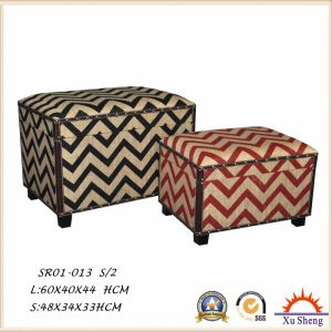 Wooden Chevron Fabric Print Tufted Storage Trunk Chest, Storage Box for Living Room pictures & photos
