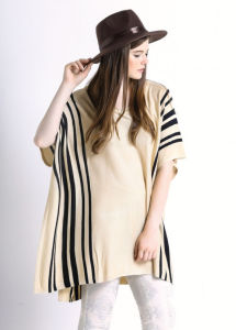 Ladies Striped Pattern Cotton Knitted Fashion Poncho Sweater (YKY2044) pictures & photos