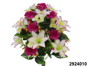 Artificial Plastic Silk Flower Rose Lily Mixed Bush 2924010