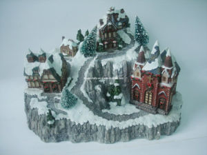 Polyresin Christmas Snow Building Statue Sculpture pictures & photos