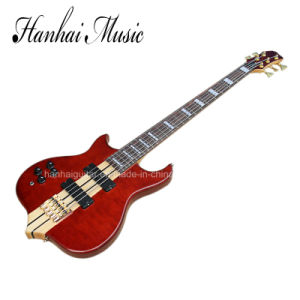 Hanhai Music / Red 5 Strings Left Handed Electric Bass Guitar pictures & photos