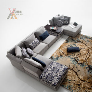 Modern Simple Style Fabric Sofa Set with Ottoman (1609)
