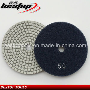 "50# 6"" 150mm Quartz Polishing Pad with Magic Tape Backing pictures & photos"