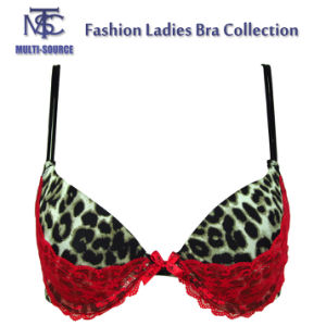 Leopard Print Red Lace Adjustible Shoulder Strap Latest Fashion Sexy Bra