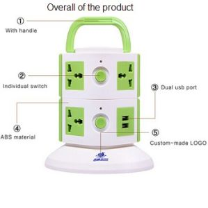 Desktop Vertical Tower Socket with Retractable Cable pictures & photos