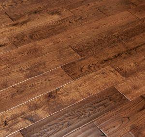 China Hand Scraped Mocha Oak Hardwood Flooring 5 X 3 4 China