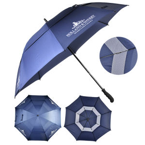 Rubber Painting Handle Double Layer Windproof Golf Umbrella (JX-U232)