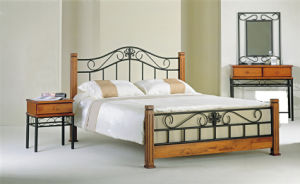 China Metal Furniture Bed In Wrought Iron And Pine Wood Ml 023
