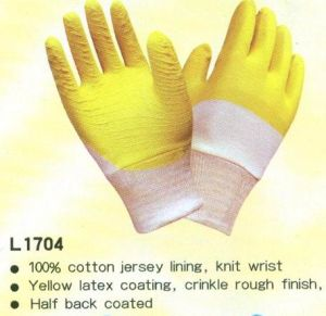 Half Back Latex Coated Gloves pictures & photos