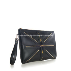Uni Pu Genuine Leather Decorative Chain Purse Clutches Handbags Lda 016