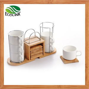 Creative European Style Coffee Cup Set with Bamboo Stand pictures & photos