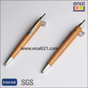 Logo Engraved Wood Ball Point Pen with Silver Parts (EN-W1005)