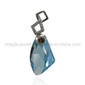 Blue Crystal Pendant Jewelry Sterling Silver Pendant (P011945)