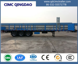 3 Axles Flatbed Semi Trailer with Side Support pictures & photos