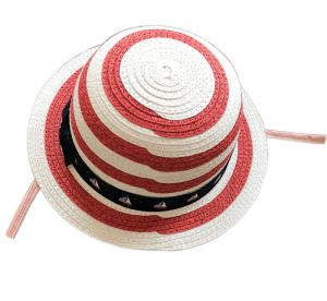 Girl′s Leisure Striped Straw Hat