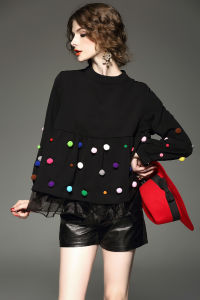 Customization Women′s Spring Black Puff Sleeve Organza Lantern Sleeve Jacket Fleece