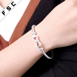 Lucky Copper Silver Plated Bow Knot Crystal Bracelets for Girl pictures & photos