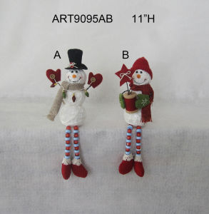 "11""H Button+Bead Legged Yarn Ball Snowman Decoration Gift-2asst. pictures & photos"