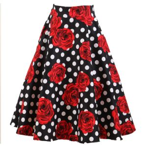 OEM Service Umbrella Ruffle Flower Printing Skirt Plus Size with Pockets pictures & photos