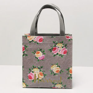 Small Size Grey PVC Canvas Floral Patterns Handbag (H036-23)