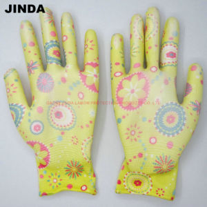 Nylon PU Coated Gloves Gardening Hand Protective Work Gloves