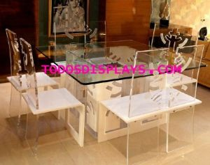 Elegan Hotel Acrylic Dining Table Chair Set