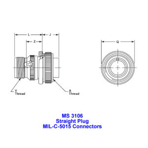 Ms 3106, Straight Plug, Mil-Dtl-5015 Military Connectors, Mil-C-5015 Industrial Connectors