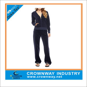 Ladies Cheap Velour Leisure Homewear Track Suit pictures & photos