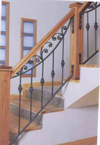 Custom Made Wrought Iron Staircase Railing With Wooden Pole Handrails