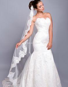 Y Trumpet Wedding Dress Lace Fishtail Bridal