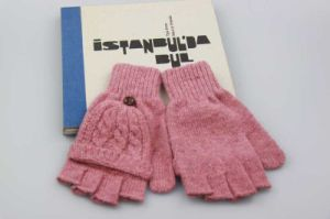 Pink Color Half Finger Gloves, Girls Wool knitted Gloves, Students Winter Gloves