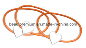Star Fashion Orange Rubber Bracelets with Metal Shiny Silver Colour Heart BPS080