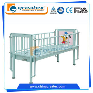 1-Crank Manual Child Bed with Cartoon Design