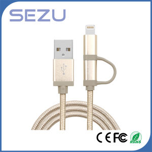Factory Directly 2 in 1 Mfi Certificated USB Charging and Data Braided Cable for iPhone and Android (Gold) pictures & photos