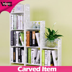 White WPC Small Bookshelf Storage Plastic Bookcase For Living Room
