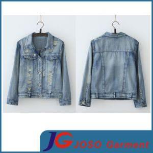 Factory Wholesale Ladies Ripped Jean Jacket (JC4020) pictures & photos
