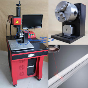 Pulse Laser Marker, Laser Marking Engraving Machine with Rotary Chuck pictures & photos