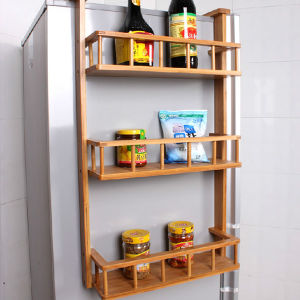 Carbonized Bamboo 3 Tiers Hanging Shelf for Kitchen Fridge pictures & photos