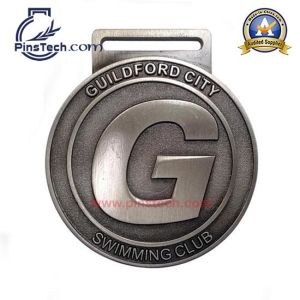 Swimming Club Medal, Antique Silver Finish