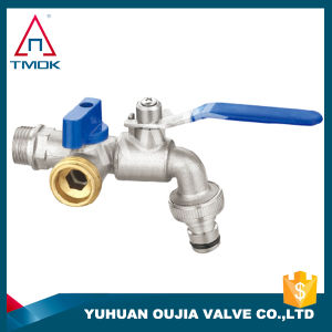 Brass Ball Bibcock Taps Faucet Three Way NPT Threaded Connection with Polishing Plating PPR Pipe Fitting
