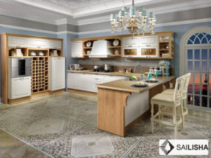 Modern German Home Hotel Furniture Island Wood Kitchen Cabinet pictures & photos