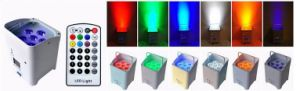 DJ Rechargeable Decorative Lighting 6 PCS X 18W Rgbwauv DMX Flat PAR Can pictures & photos