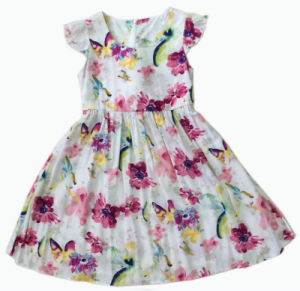 Colorful Girl Dress in Kids Wear with Lotus Sleeve (SQD-109)
