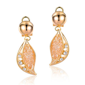 Fashion Gold Color Alloy Jewelry Leaf Shaped Crystal Drop Dangle Earrings