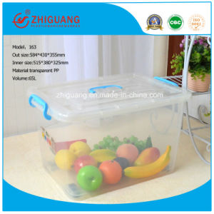 Hot Sale High Quality 65L Plastic Storage Box Clear Moveable Household Plastic Container Packing Box pictures & photos